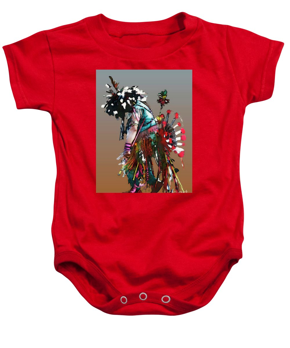 Abstract Baby Onesie featuring the photograph Pow Wow Dancer by Linda Parker