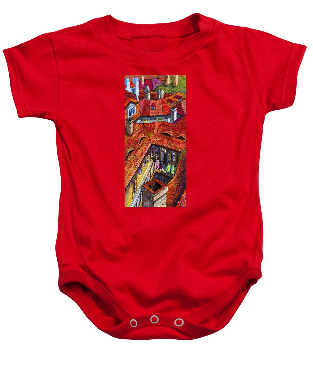 Pastel Baby Onesie featuring the painting Prague Roofs 01 by Yuriy Shevchuk