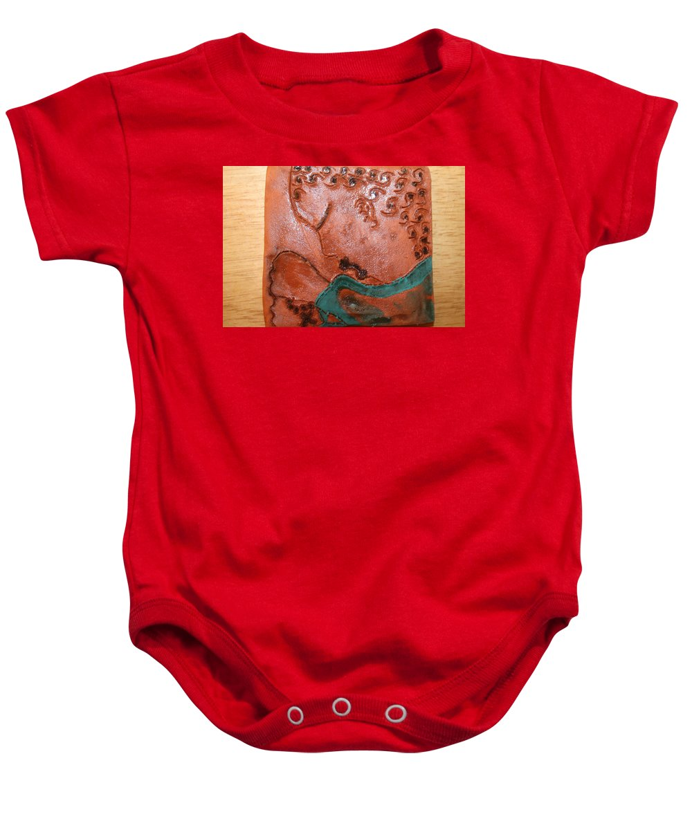 Jesus Baby Onesie featuring the ceramic art Prayer 41 - Tile by Gloria Ssali