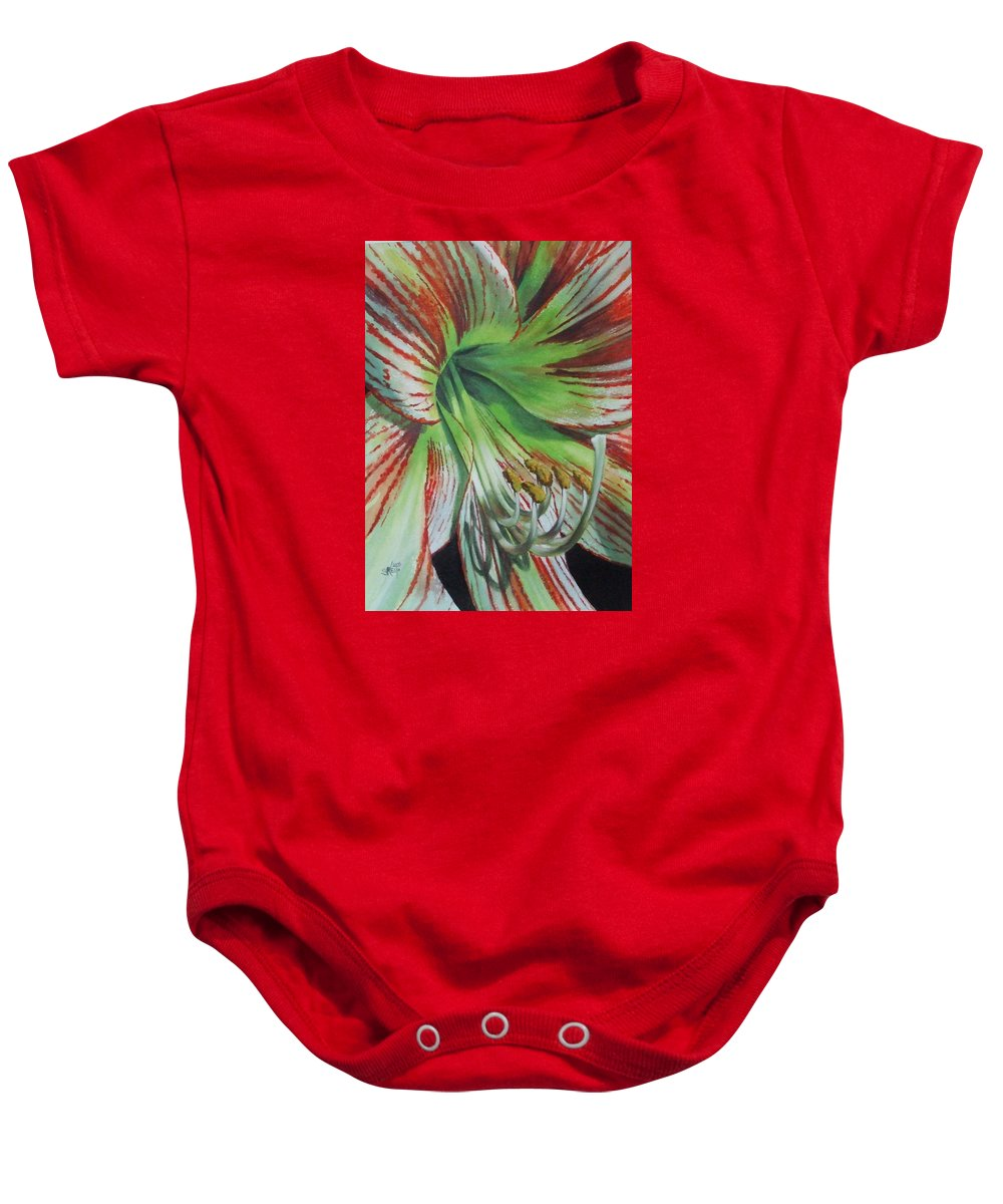Amaryllis Baby Onesie featuring the painting Precious by Barbara Keith