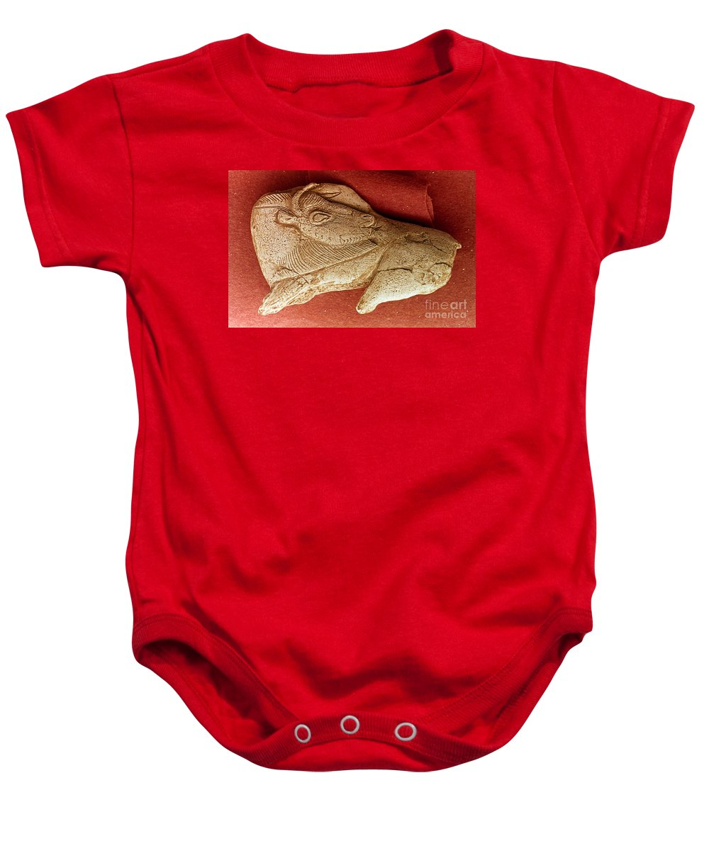 Ancient Baby Onesie featuring the photograph Prehistoric Bison Carving by Granger