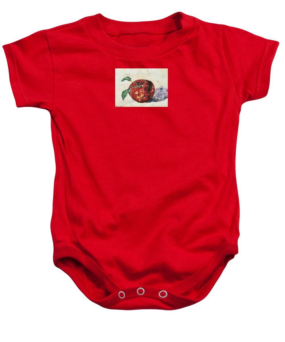 Apples Baby Onesie featuring the painting Pretty Apple by Reina Resto