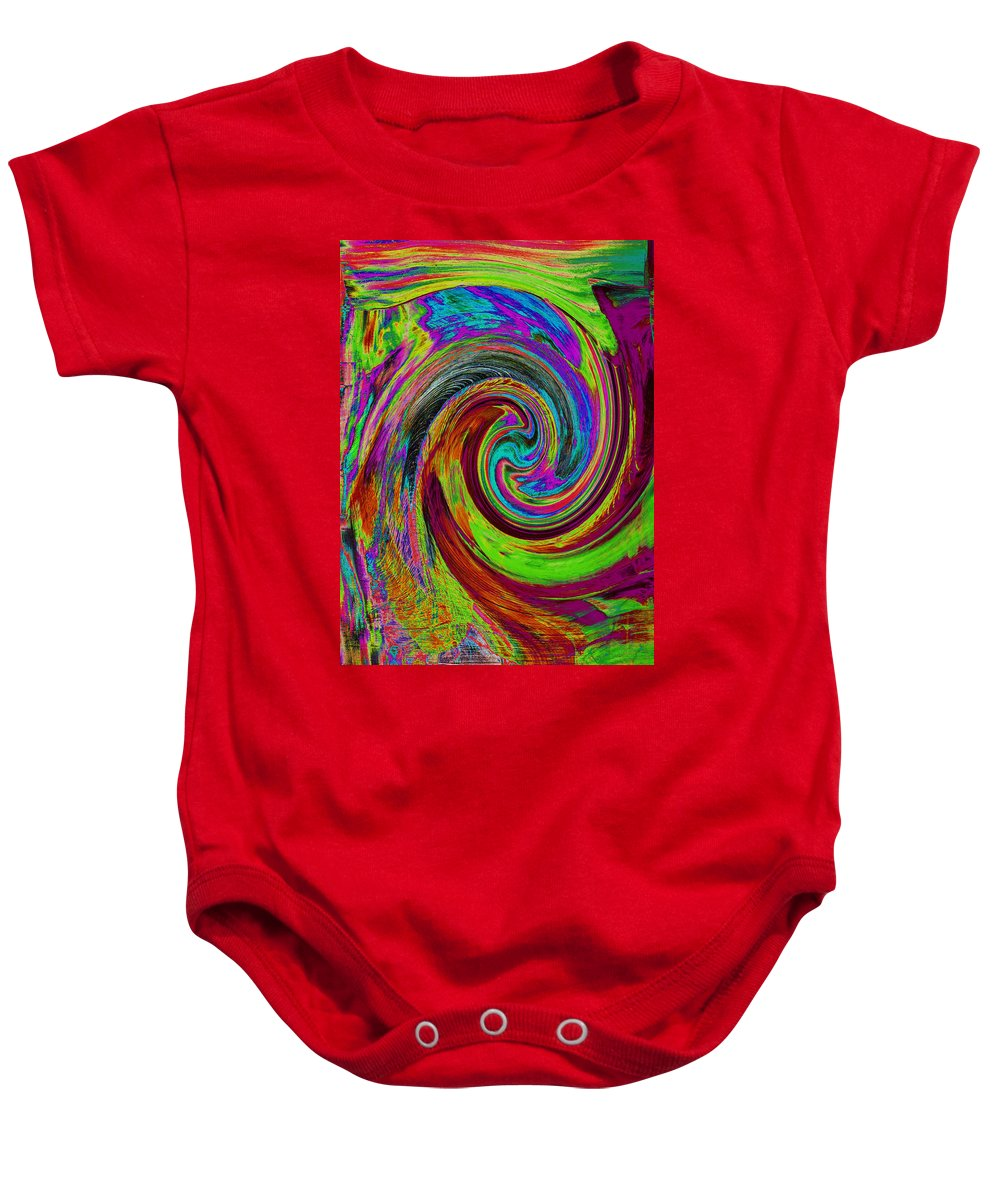 Abstract Baby Onesie featuring the painting Pscholdelic Surfs Up by Wayne Potrafka