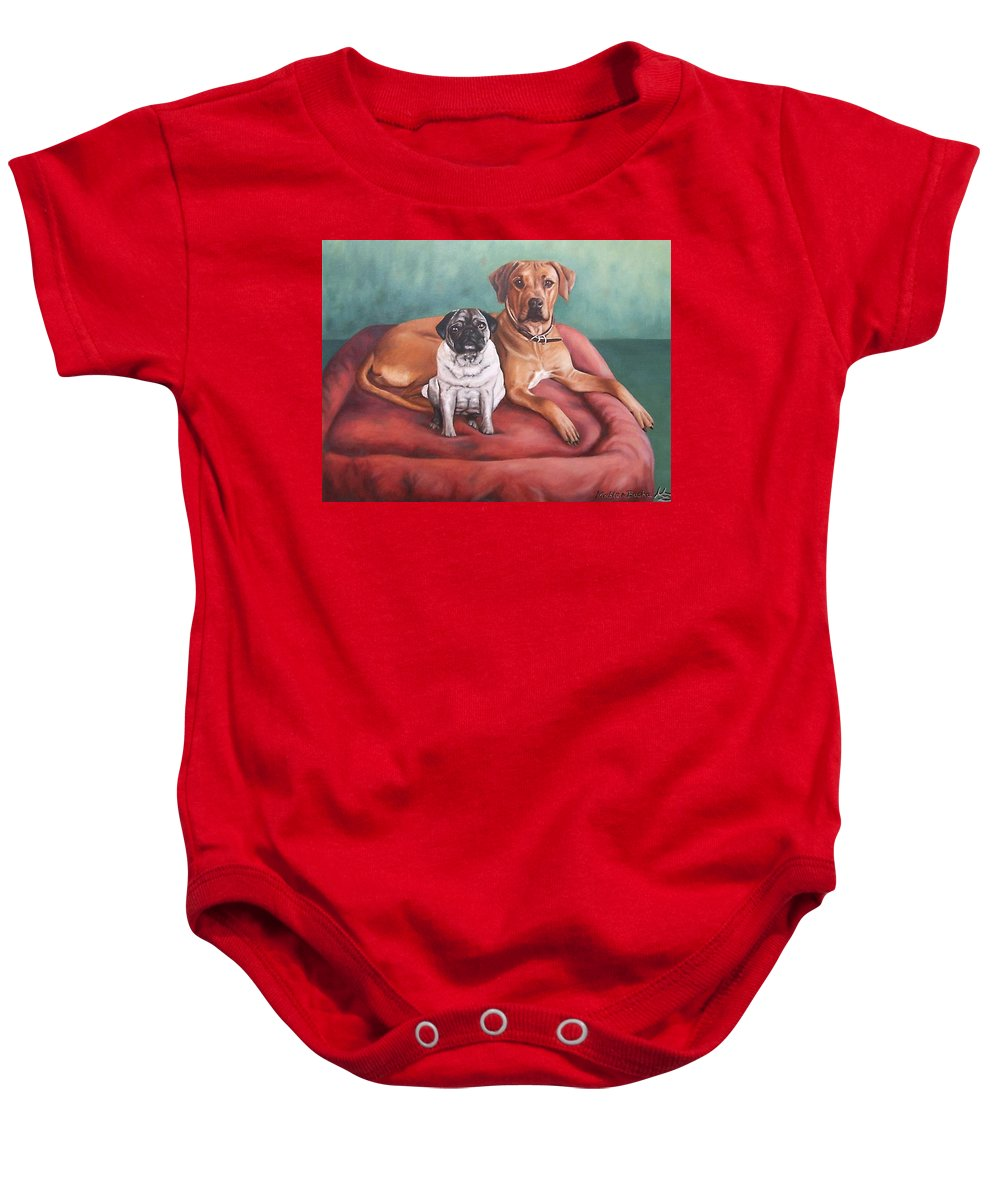 Dogs Baby Onesie featuring the painting Pug And Rhodesian Ridgeback by Nicole Zeug