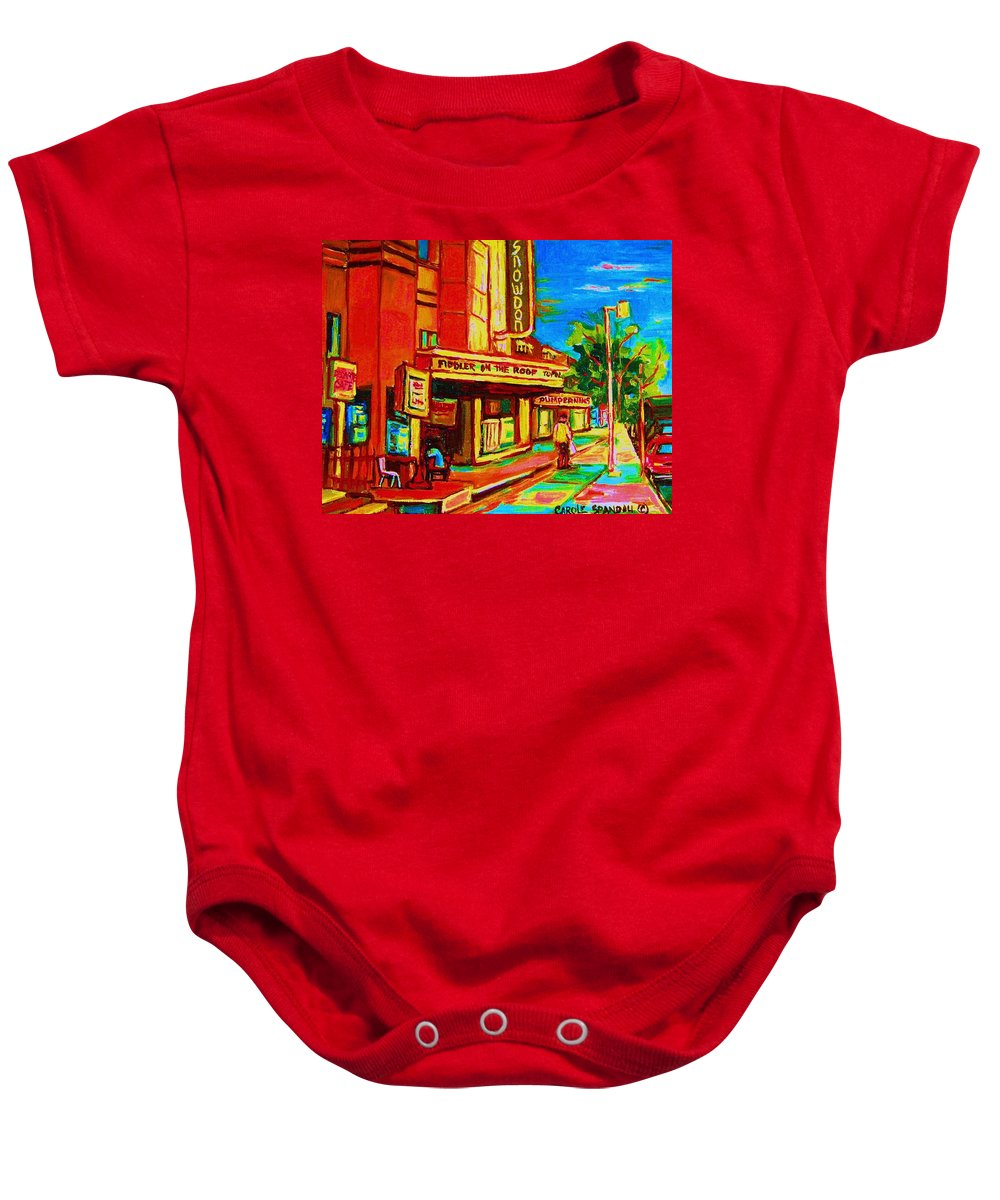 Pumperniks Baby Onesie featuring the painting Pumperniks And The Snowdon Theatre by Carole Spandau