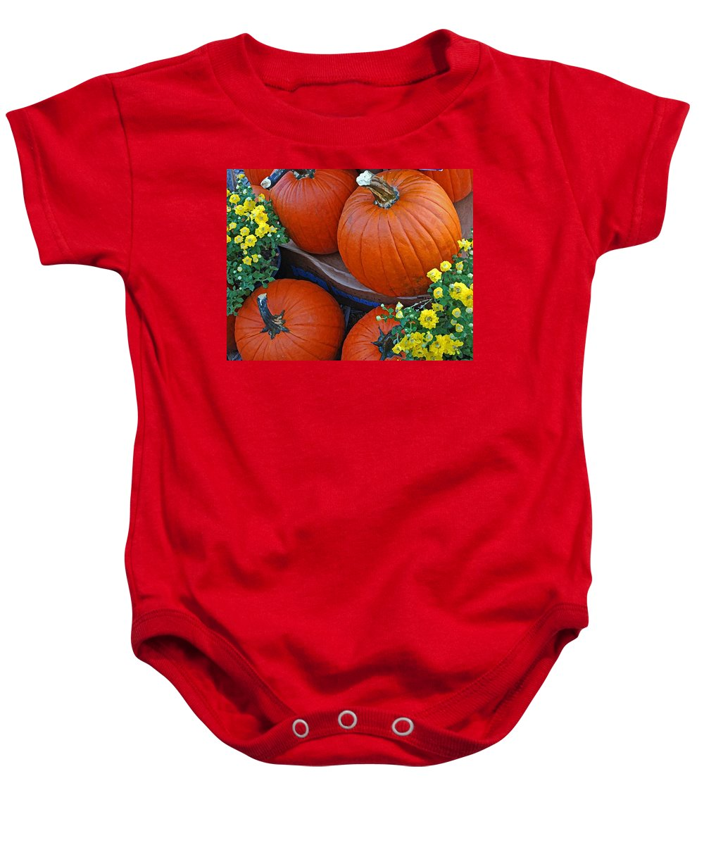 Baby Onesie featuring the photograph Pumpkin And Flowers by Michael Thomas