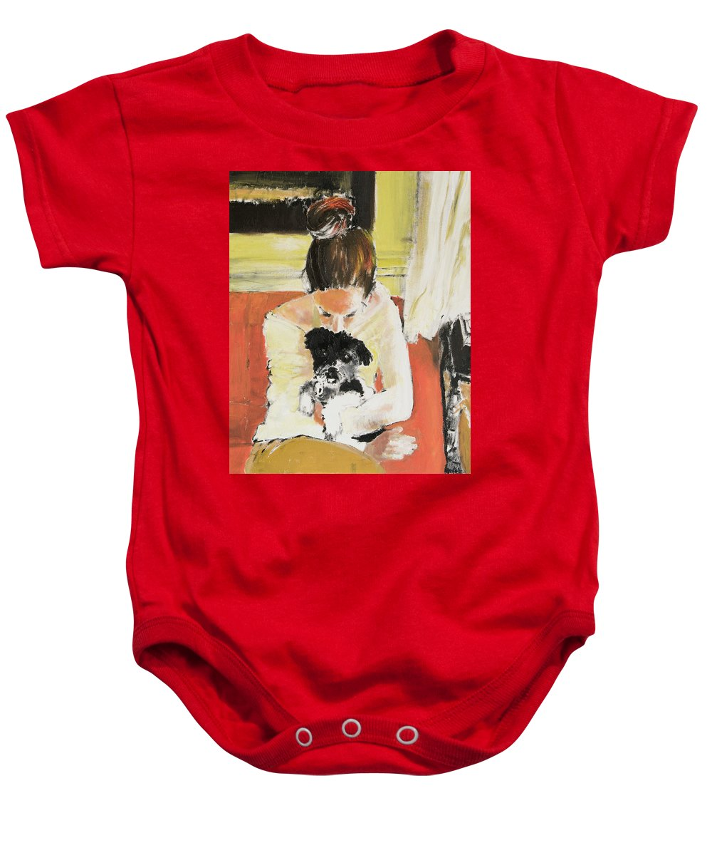 Girl With Dog Baby Onesie featuring the painting Puppy Love by Craig Newland