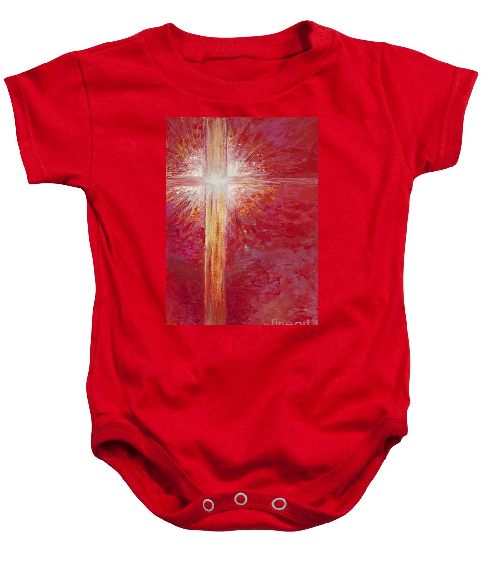 Light Baby Onesie featuring the painting Pure Light by Nadine Rippelmeyer