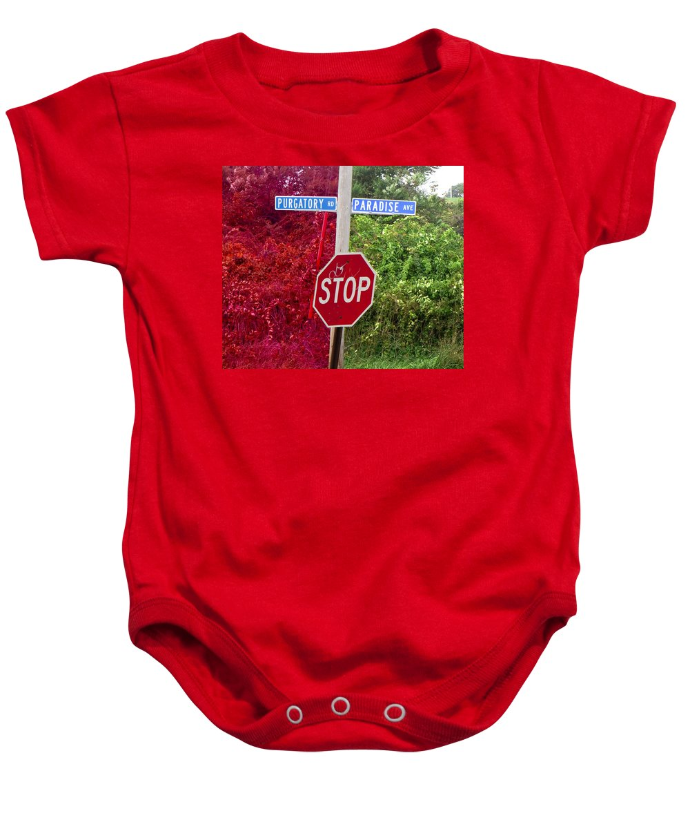 Purgatory Baby Onesie featuring the mixed media Purgatory Or Paradise by Steven Natanson
