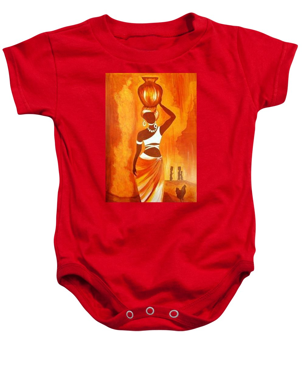 Baby Onesie featuring the painting q by Bugembe Robert