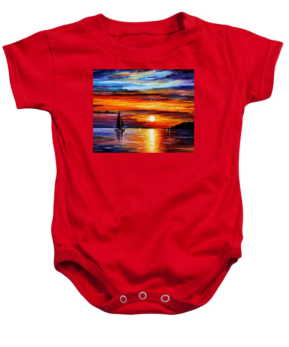 Afremov Baby Onesie featuring the painting Quiet Sunset by Leonid Afremov