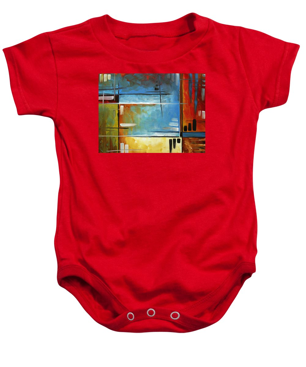 Abstract Baby Onesie featuring the painting Quiet Whispers By Madart by Megan Duncanson