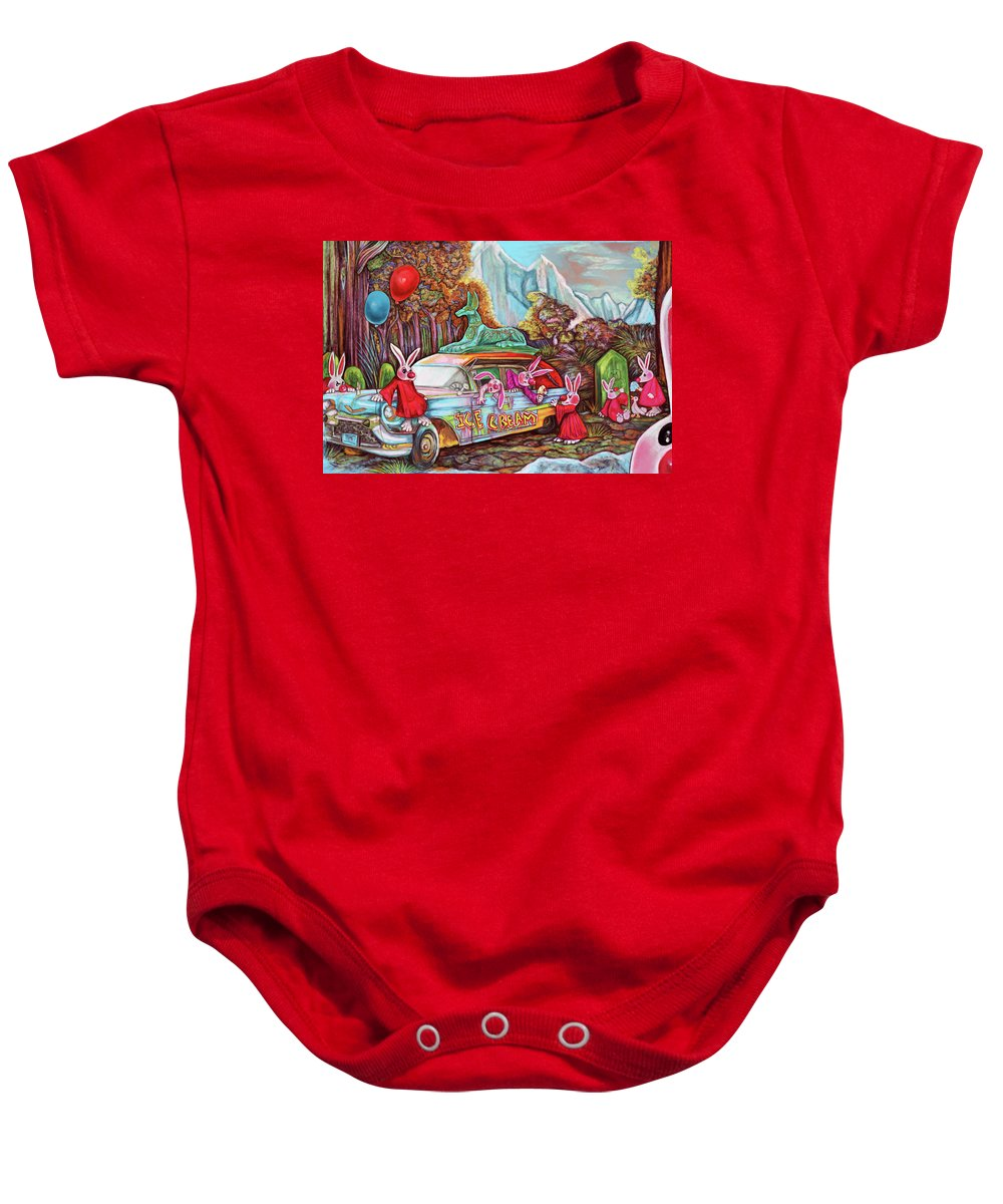 Bunny Baby Onesie featuring the digital art Rabbits Selling Ice Cream From A Hearse by Clown Coffins