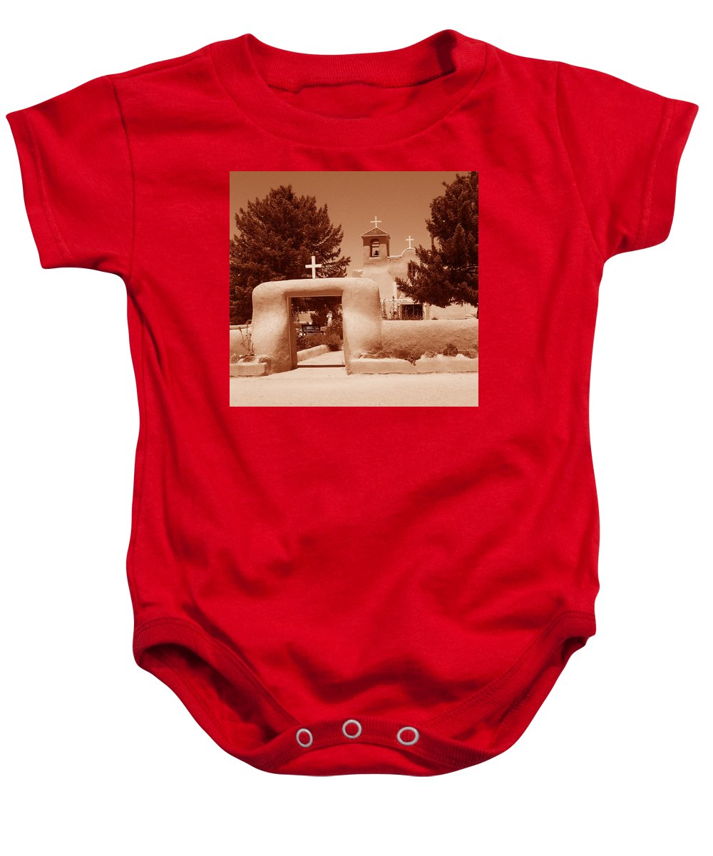Church Baby Onesie featuring the photograph Ranchos De Taos Church  New Mexico by Wayne Potrafka