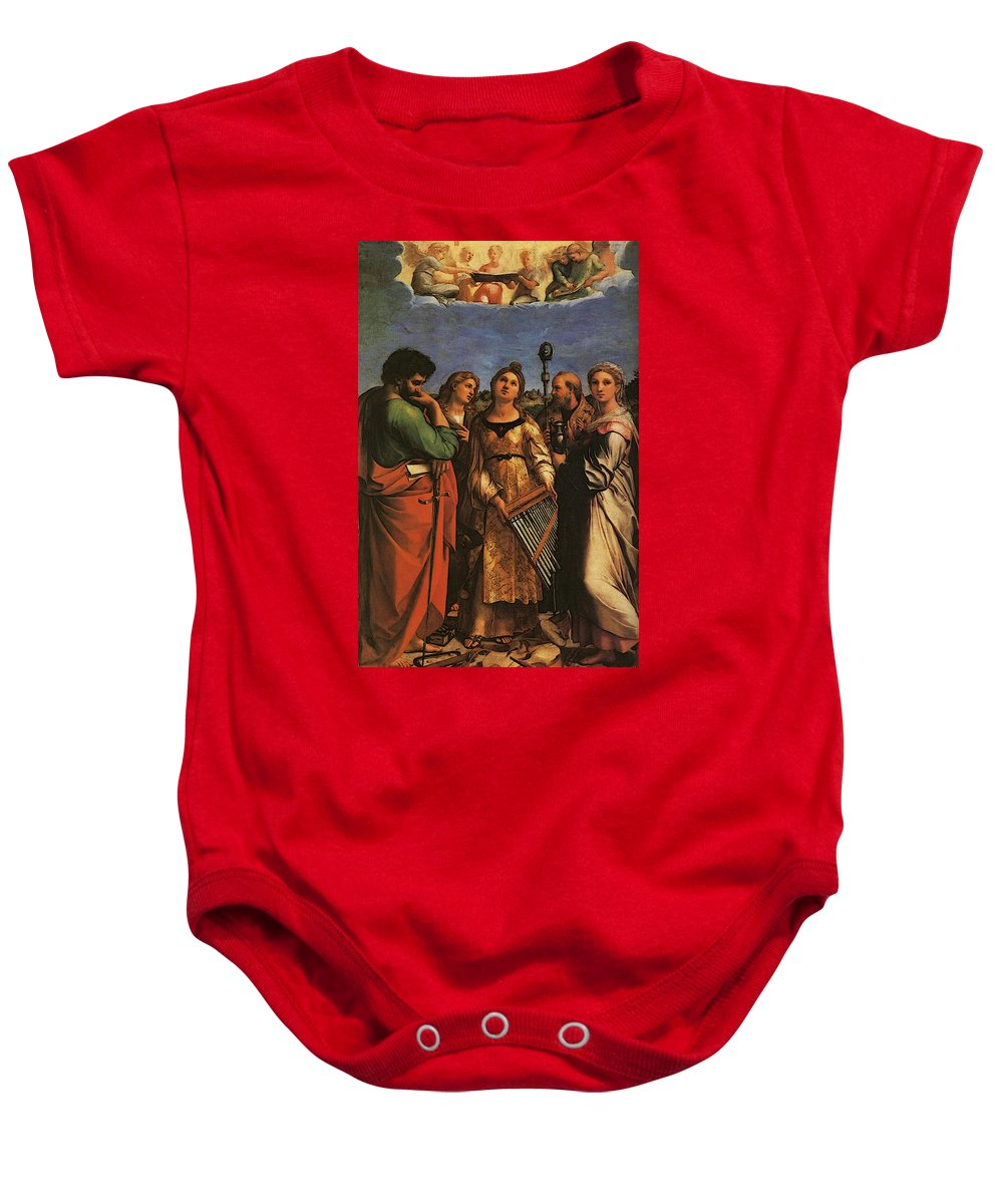 Raphael St Cecilia With Sts Paul John Evangelists Augustine And Mary Magdalene Baby Onesie featuring the digital art Raphael St Cecilia With Sts Paul John Evangelists Augustine And Mary Magdalene by PixBreak Art
