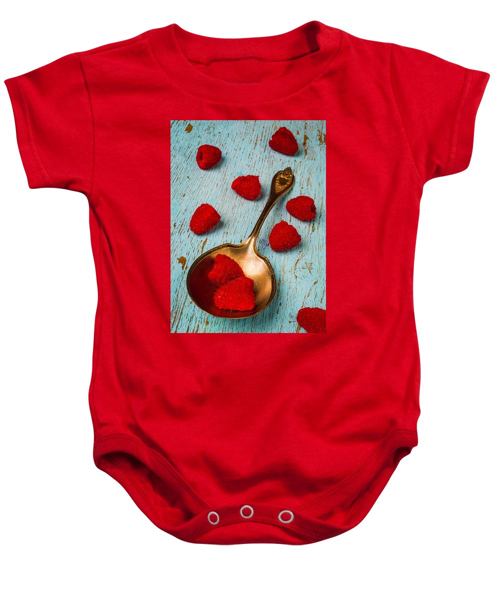 Raspberries Baby Onesie featuring the photograph Raspberries With Antique Spoon by Garry Gay