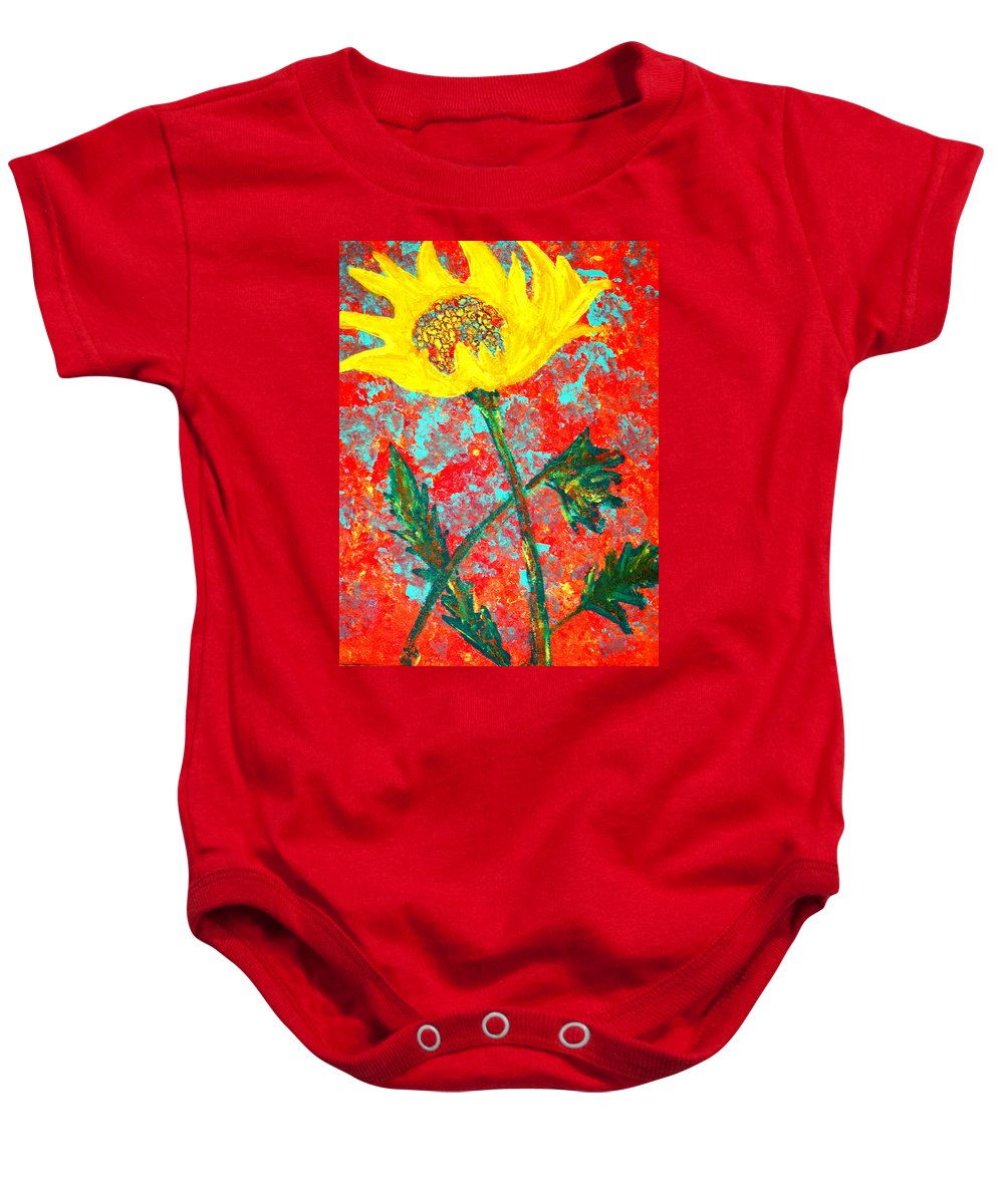 Flower Baby Onesie featuring the painting Reaching For The Sun by Wayne Potrafka