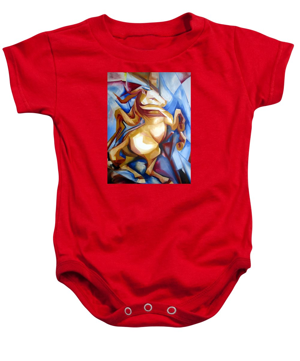Horse Baby Onesie featuring the painting Rearing Horse by Leyla Munteanu