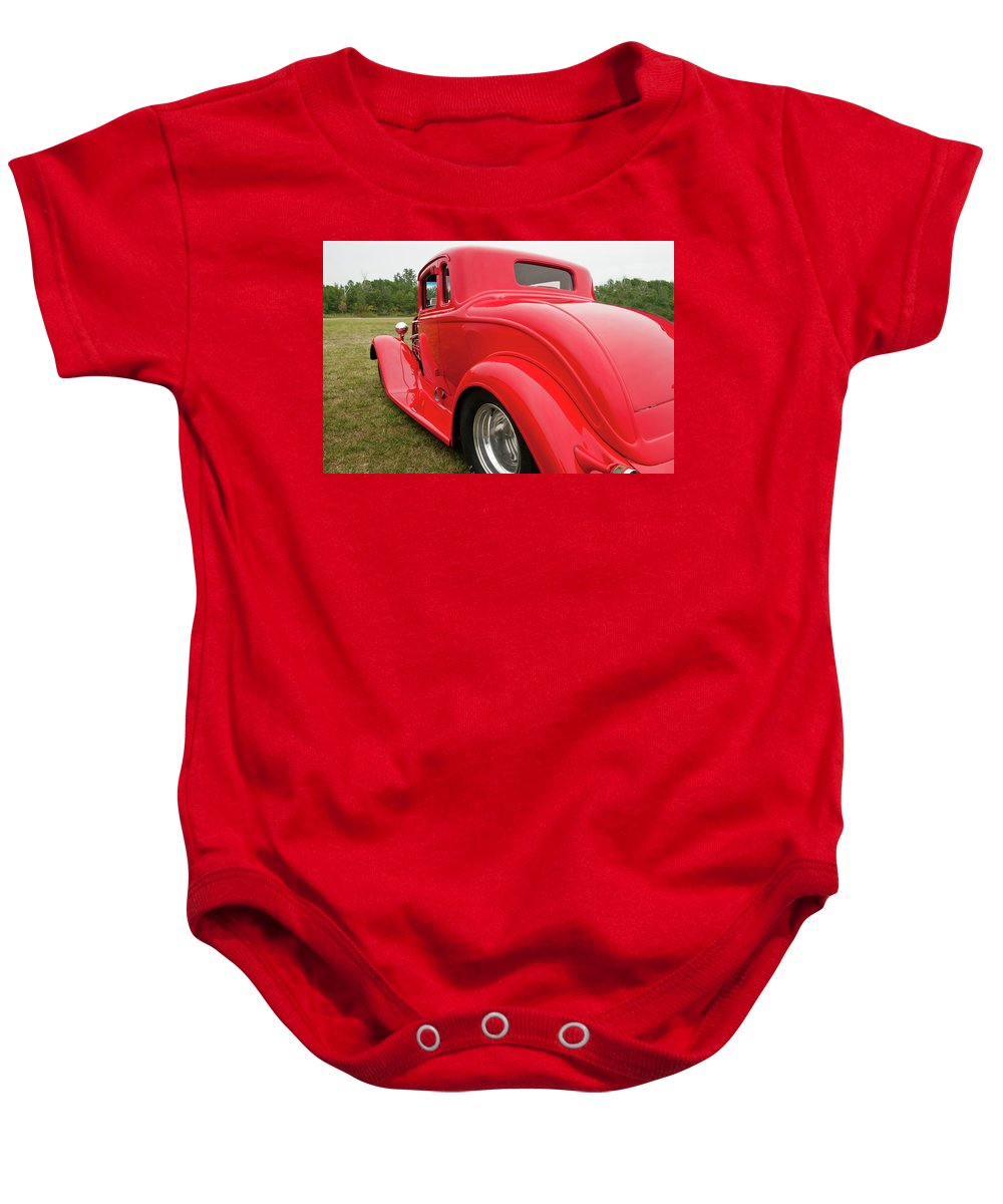 Antique Car Baby Onesie featuring the photograph Red 1994 by Guy Whiteley
