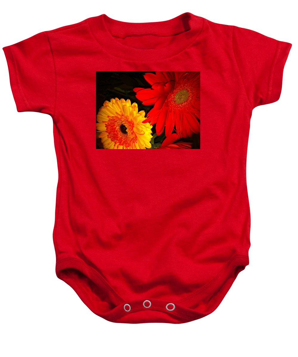 Flowers Baby Onesie featuring the photograph Red And Yellow by Kimberly Mohlenhoff