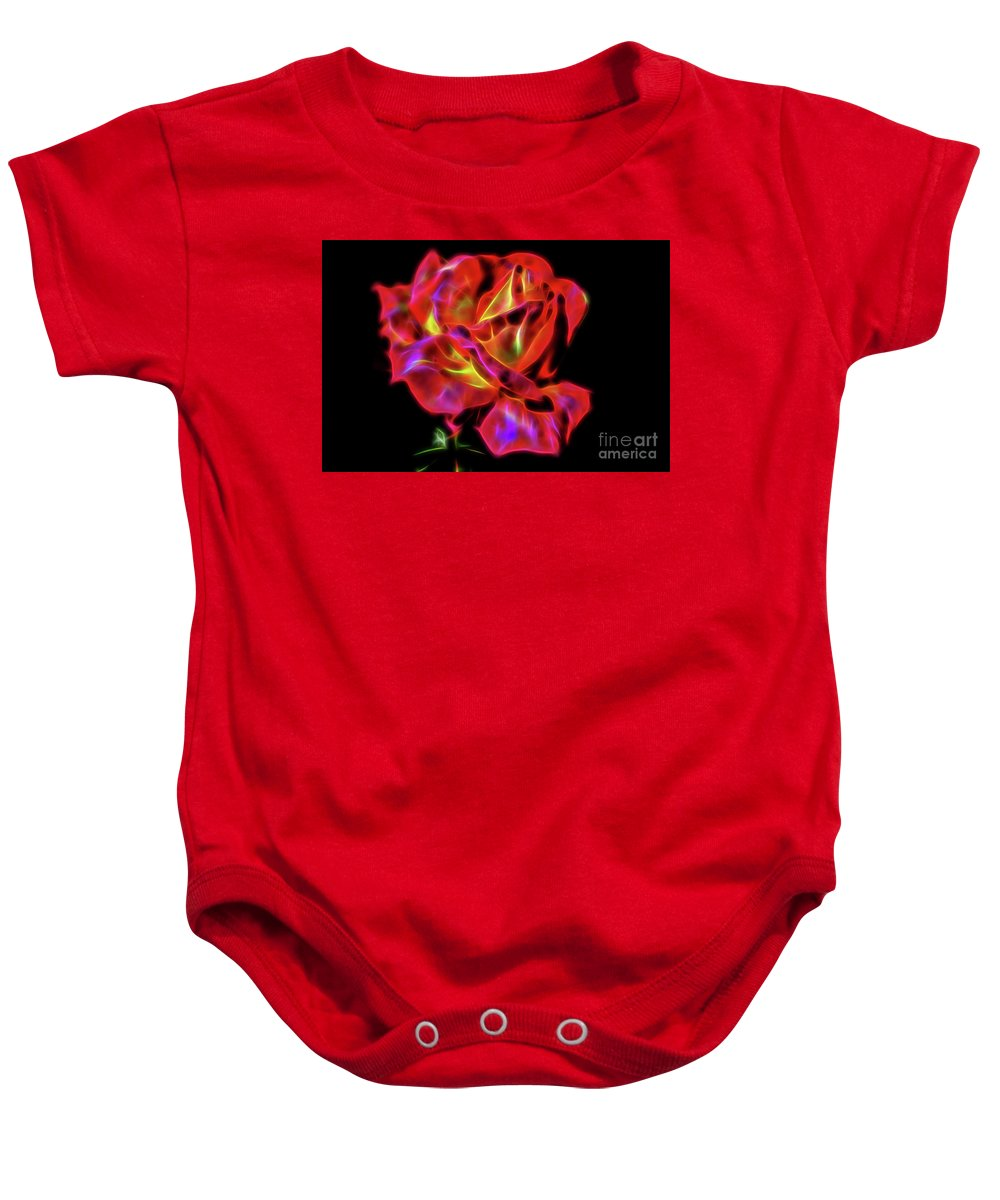 Red Baby Onesie featuring the digital art Red And Yellow Rose Fractal by Tracey Everington