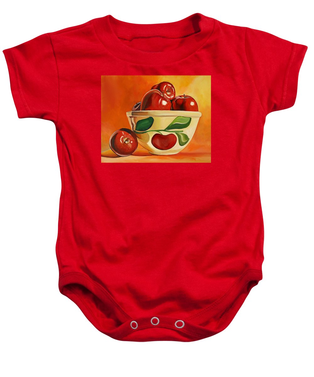 Apples Baby Onesie featuring the painting Red Apples In Vintage Watt Yellowware Bowl by Toni Grote