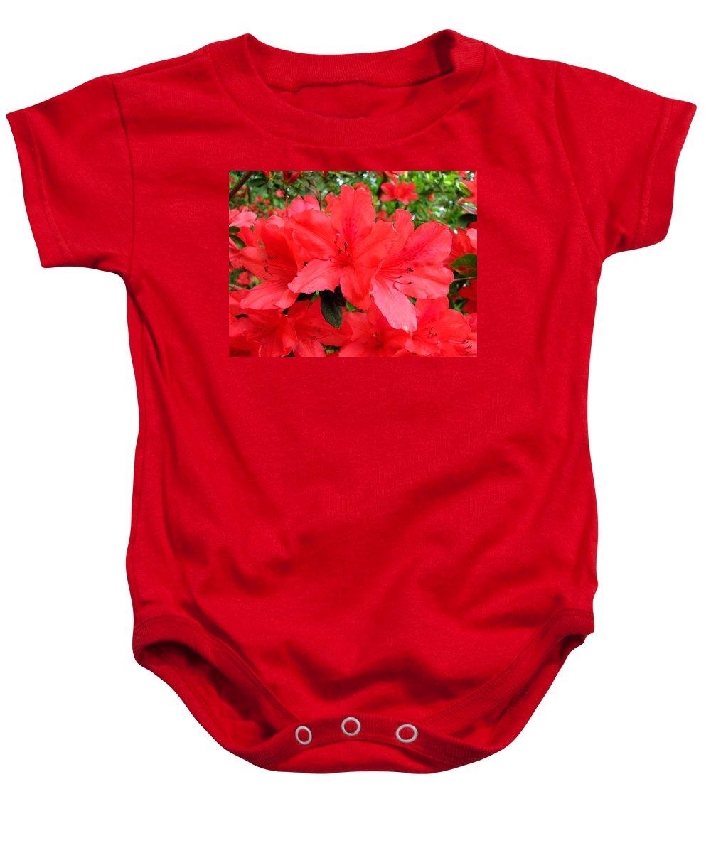 Azalea Baby Onesie featuring the photograph Red Azaleas by J M Farris Photography
