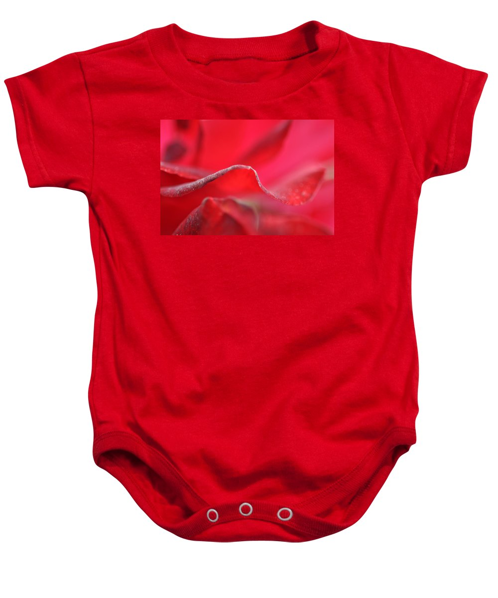 Red Baby Onesie featuring the photograph Red Blossom 3 by Dubi Roman