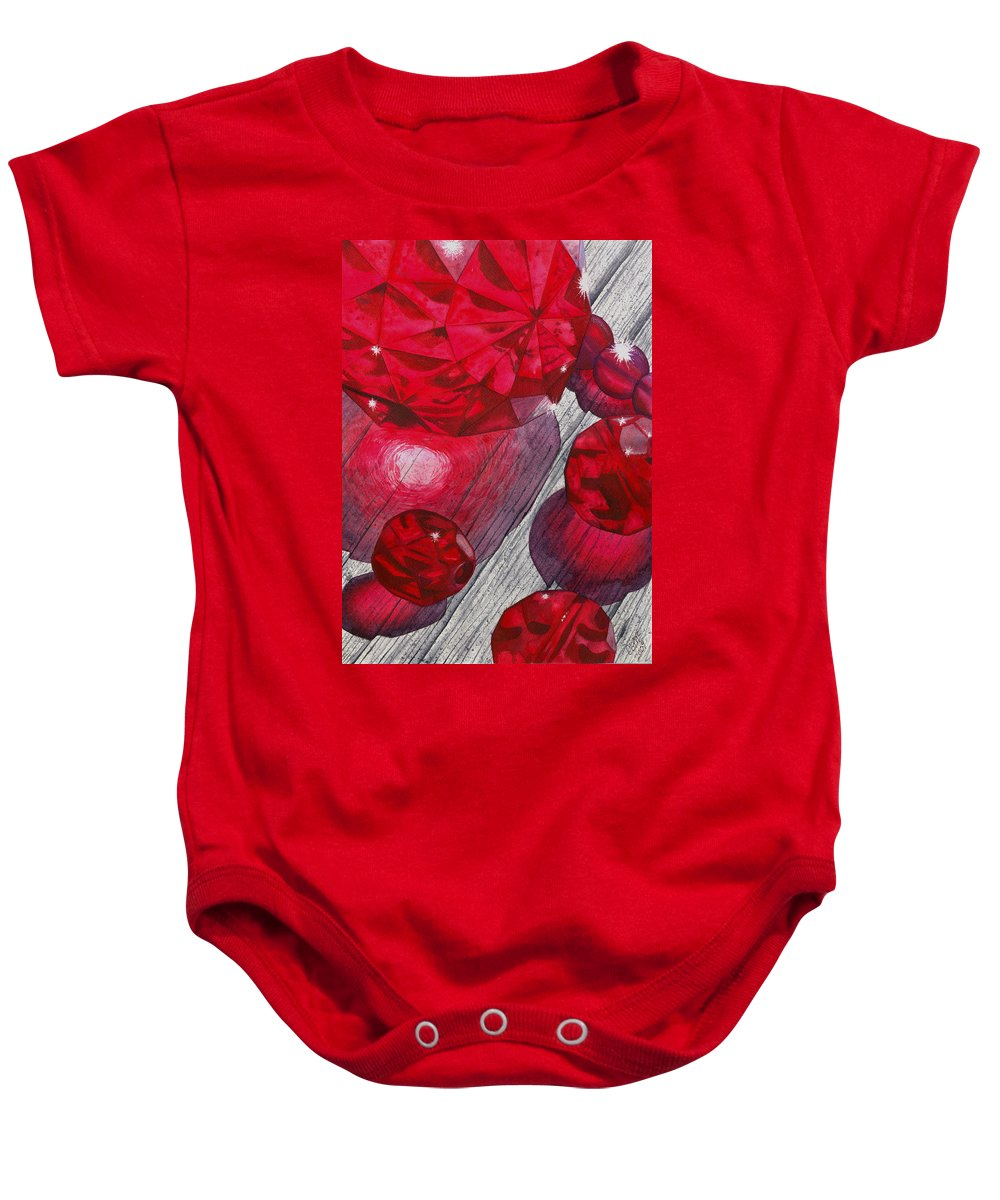 Red Baby Onesie featuring the painting Red by Catherine G McElroy