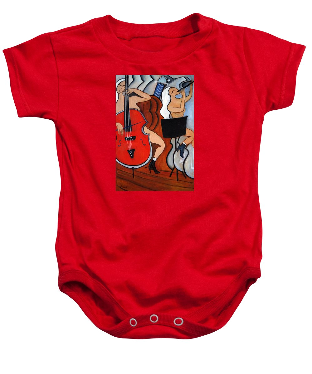 Cubic Abstract Baby Onesie featuring the painting Red Cello 2 by Valerie Vescovi