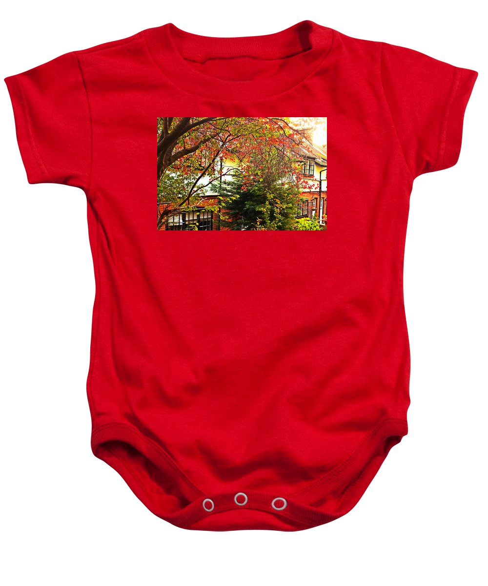 Landscape Baby Onesie featuring the photograph Red Charm by Loretta S