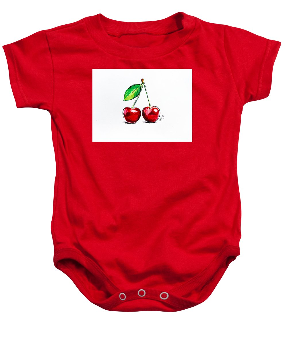 Cherry Baby Onesie featuring the painting Red Cherry by Viktoryia Lavtsevich
