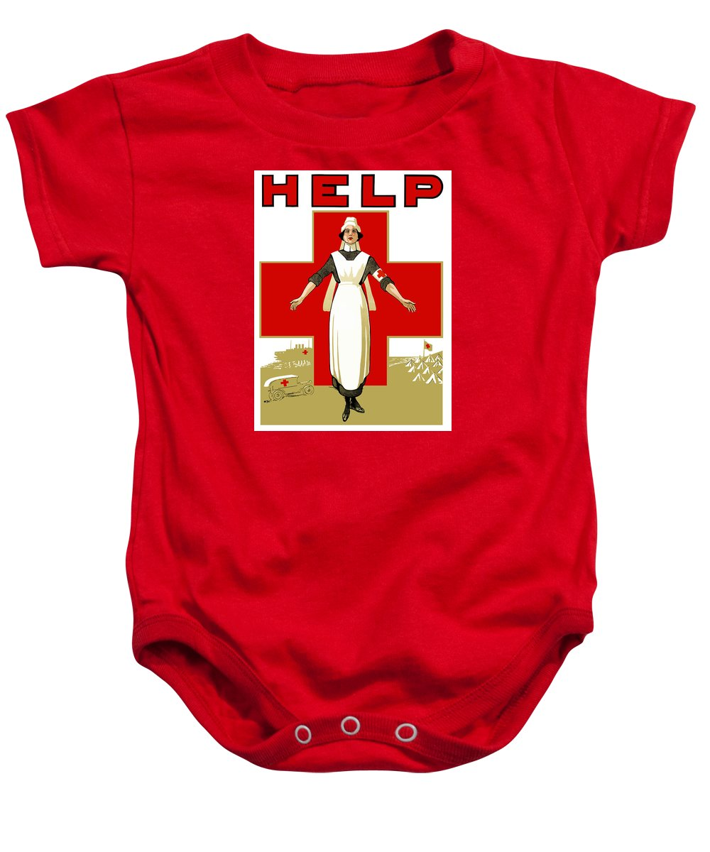 Ww1 Propaganda Baby Onesie featuring the painting Red Cross Nurse - Help by War Is Hell Store