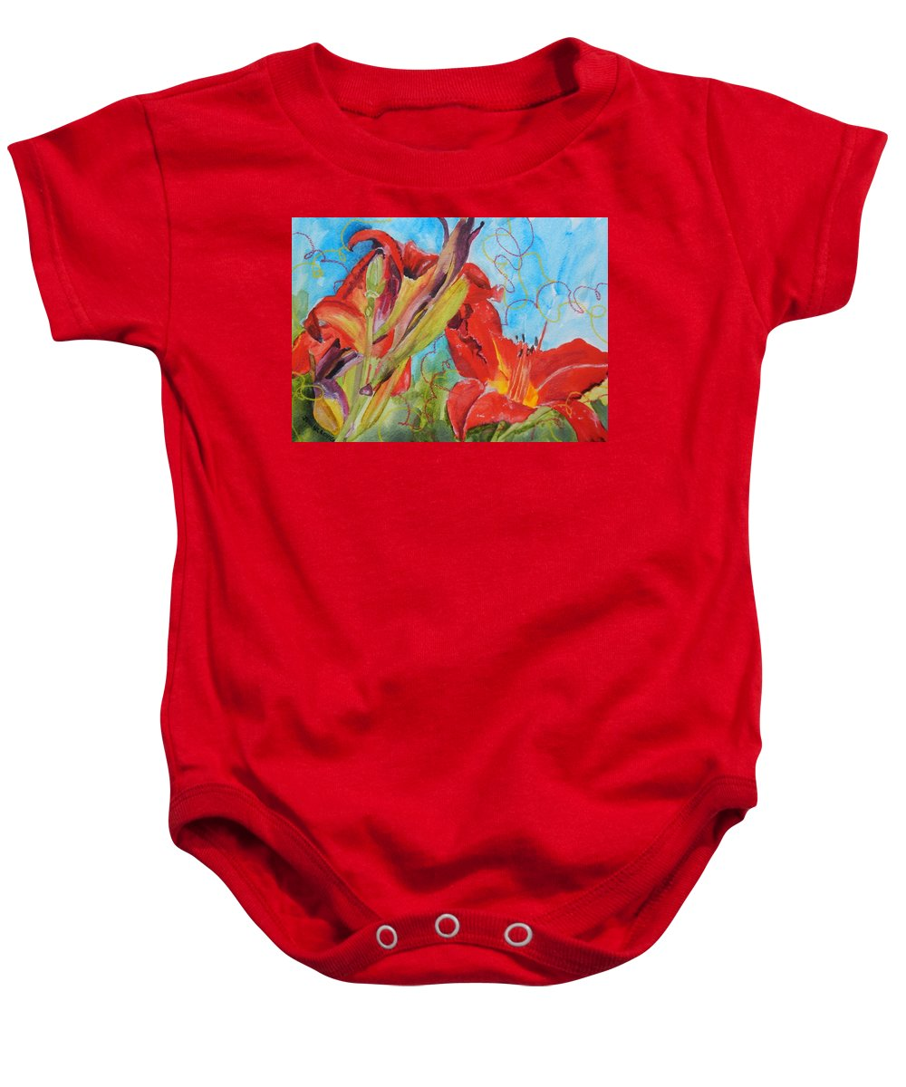 Red Baby Onesie featuring the painting Red Day Lilies by Jean Blackmer