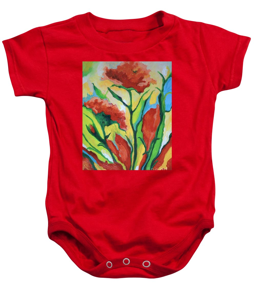 Flowers Baby Onesie featuring the painting Red Delight by Alison Caltrider