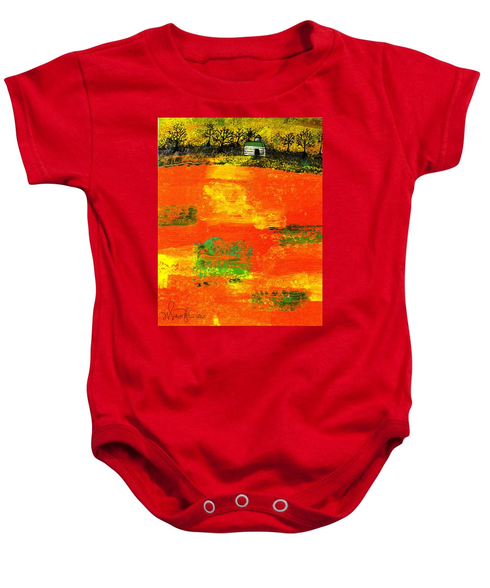 Rural Baby Onesie featuring the painting Red Fields by Wayne Potrafka