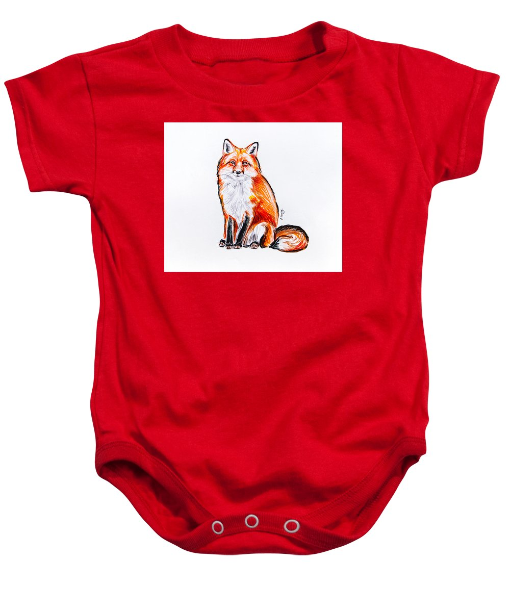 Red Baby Onesie featuring the painting Red Foxie by Viktoryia Lavtsevich