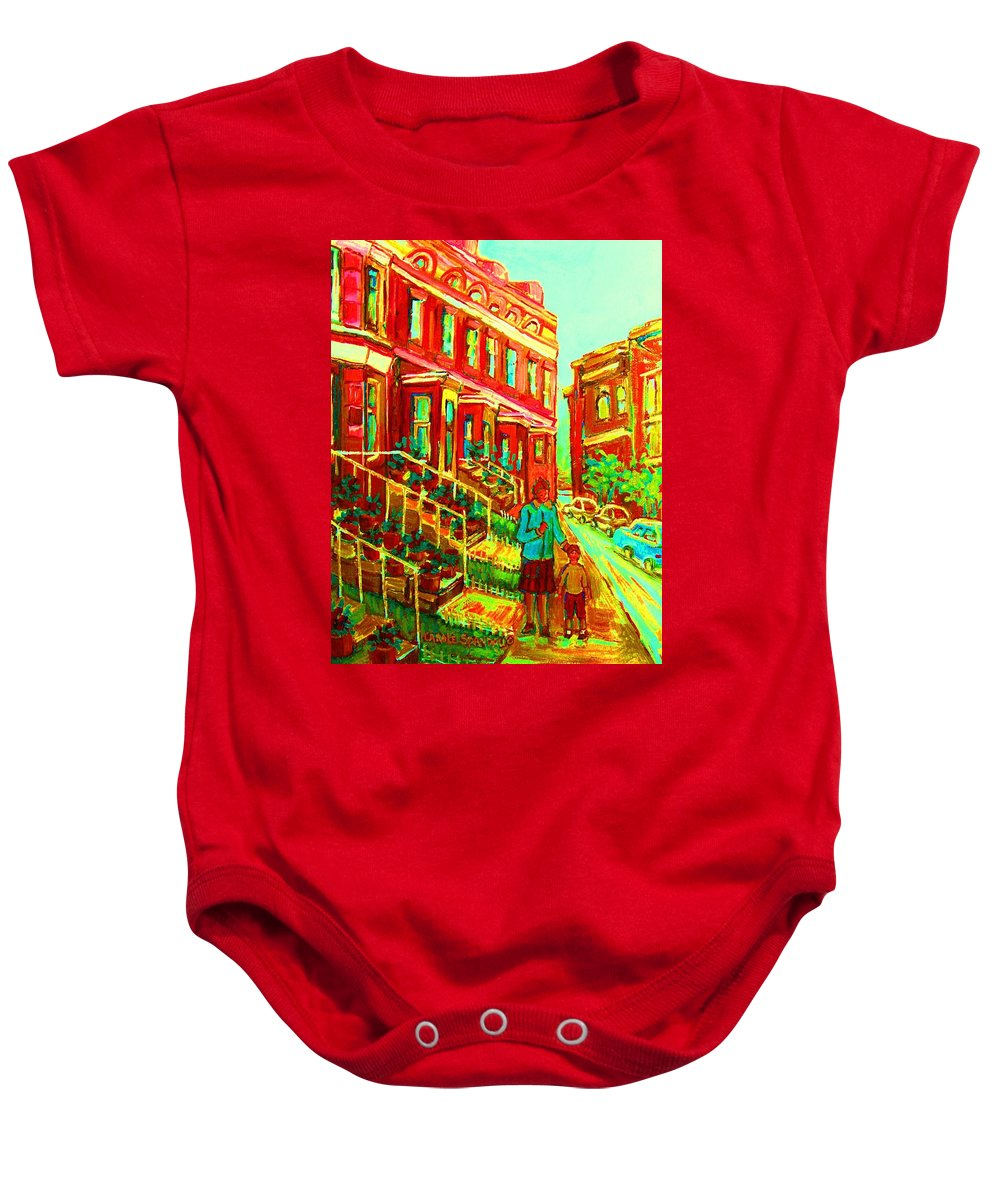 Geraniums Baby Onesie featuring the painting Red Geraniums by Carole Spandau