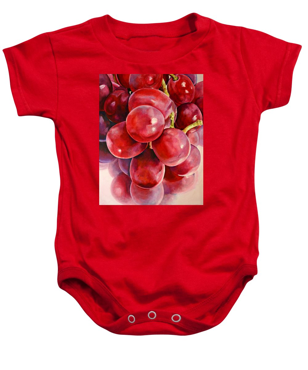 Red Baby Onesie featuring the painting Red Grape Reflections by Toni Grote
