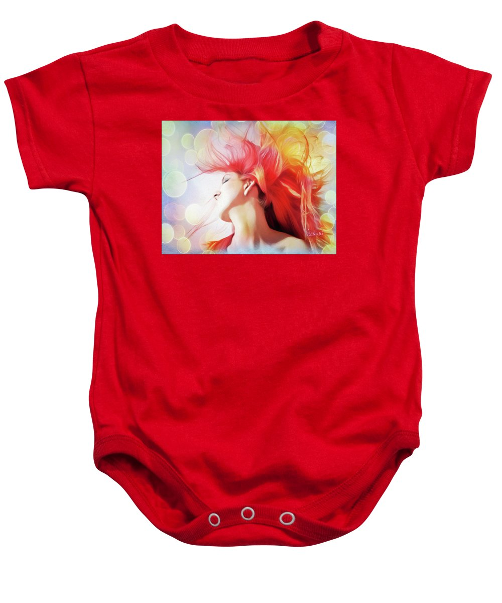 People Baby Onesie featuring the pastel Red Hair With Bubbles by Ombretta Lanari
