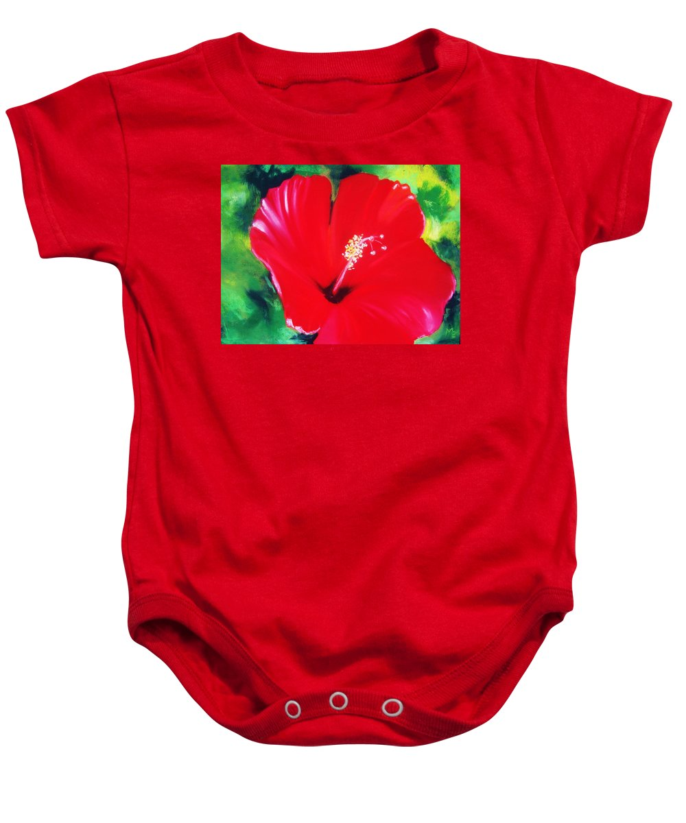Bright Flower Baby Onesie featuring the painting Red Hibiscus by Melinda Etzold