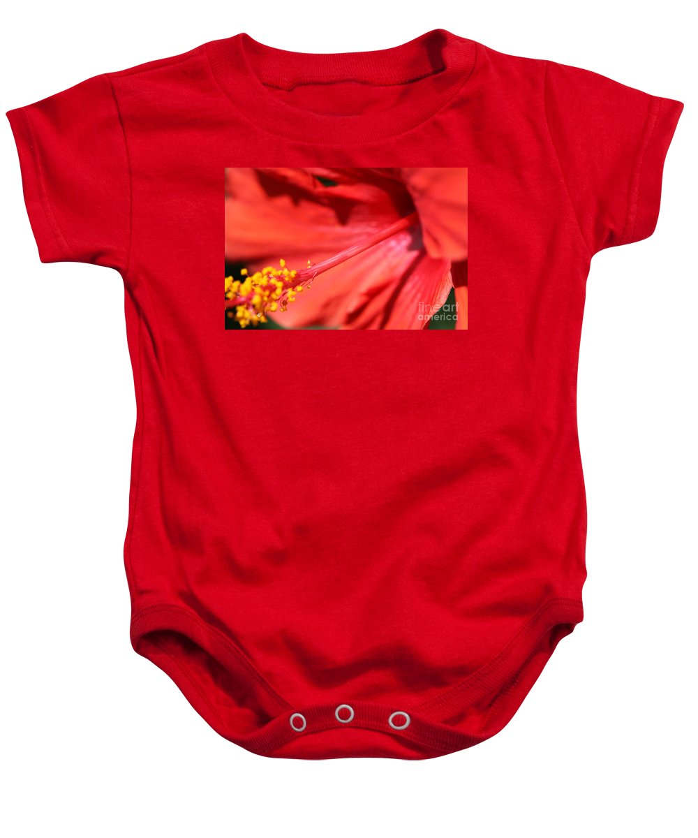 Red Baby Onesie featuring the photograph Red Hibiscus by Nadine Rippelmeyer