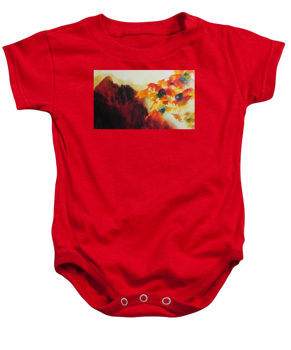 Landscape Baby Onesie featuring the painting Red Mountain by Peggy Guichu