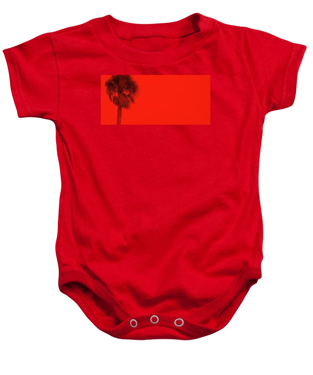 Landscape Baby Onesie featuring the photograph Red Palm by Ed Smith