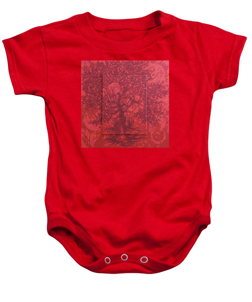 Red Baby Onesie featuring the painting Red Planet by Judy Henninger
