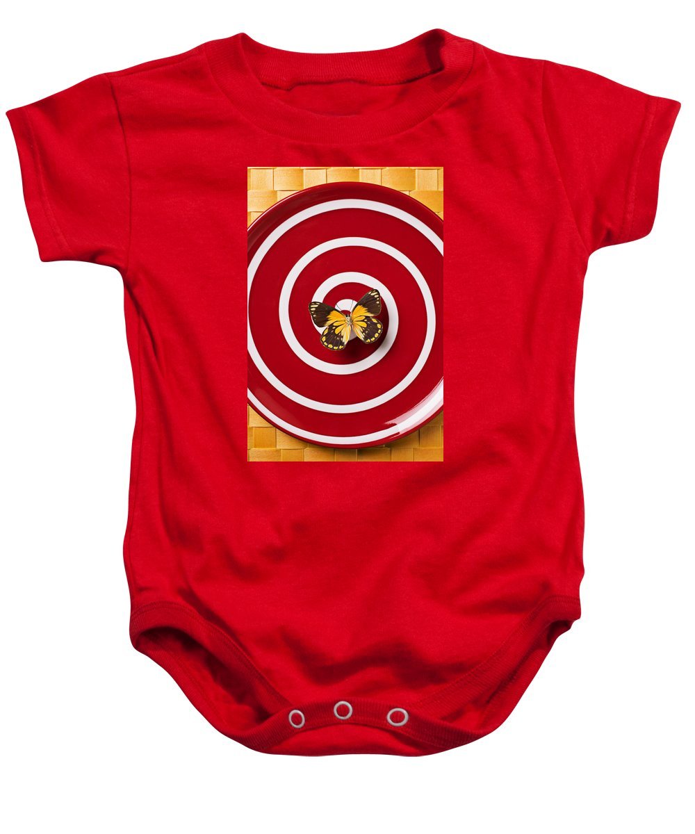 Butterfly Baby Onesie featuring the photograph Red Plate And Yellow Black Butterfly by Garry Gay