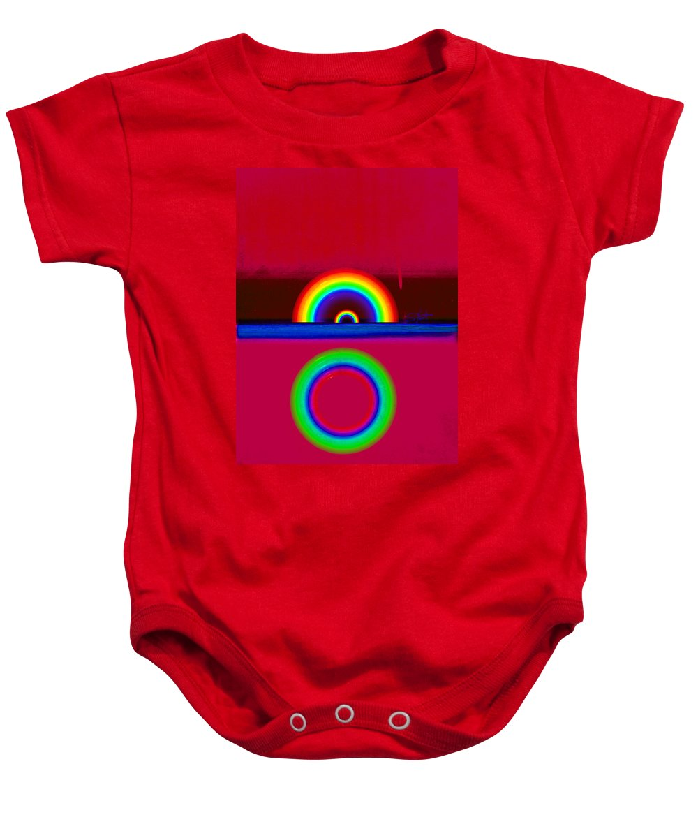 Red Baby Onesie featuring the painting Red Sunset by Charles Stuart