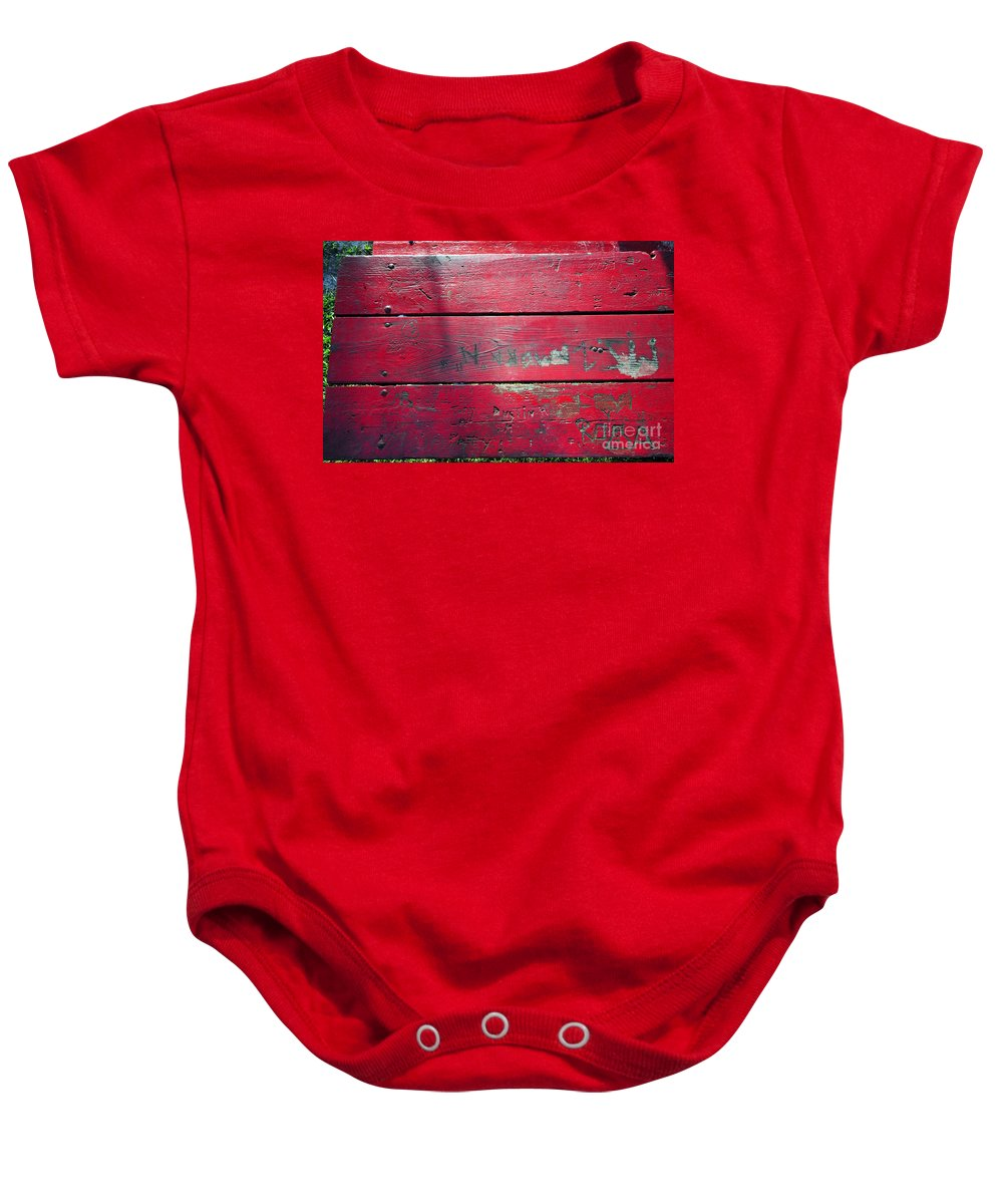 Red Table Baby Onesie featuring the photograph Red Table by David Lee Thompson