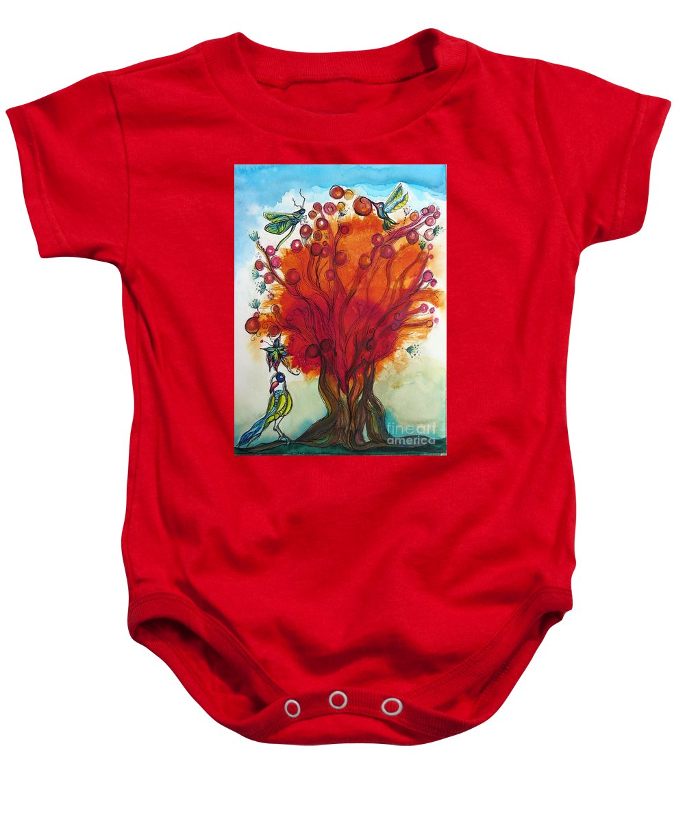 Red Tree Baby Onesie featuring the mixed media Red Tree And Friends by Paulette Boudreau