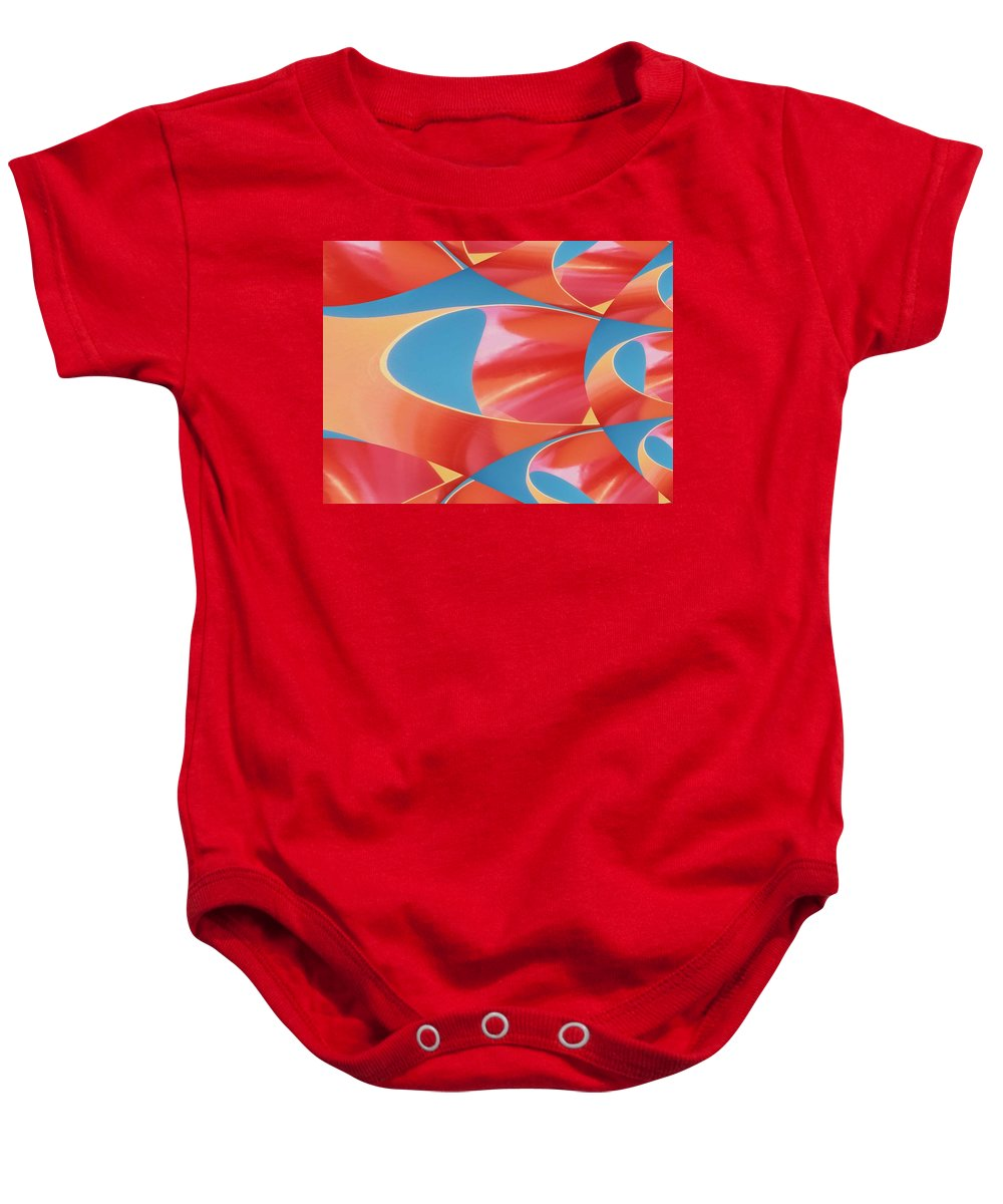 Tubes Baby Onesie featuring the digital art Red Tubes by Tim Allen